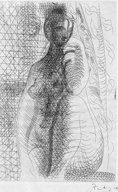 By Pablo Picasso, 1931, Femme nue à la jambe pliée, Etching, Museum of Fine Arts, Boston