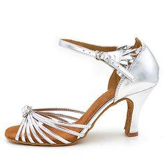 de492ab894119b Damen Schuhe für den lateinamerikanischen Tanz Satin Sandalen   Absätze  Keilabsatz Maßfertigung Tanzschuhe Silber
