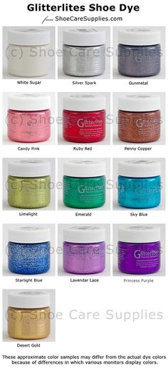 Angelus Glitterlites Flexible Glittercoat is a Glitter Paint for leather shoes, boots, handbags, belts, etc. Add sparkle and glitz to leather articles for special occasions, proms, weddings, crafts, etc.