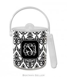 Madison Damask White with Black Ice Bucket by Boatman Geller for $55