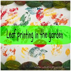 A great idea for crafts in the garden! Leaves + Paint = art!