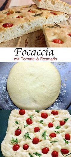 Focaccia mit Tomate und Rosmarin. Dieses Focaccia ist super saftig und aromatisch. Das Perfekte Brot zum Grillen. #Focaccia #Rezept #Brot #Grillen