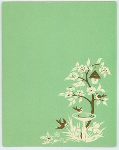 VINTAGE WHITE SILHOUETTE GARDEN IRIS FLOWER BIRD BATH TREE BIRD HOUSE CARD PRINT in Collectibles, Paper, Other Paper Collectibles | eBay