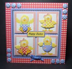The hen family card with toppers and decoupage on Craftsuprint designed by Angela Wake - made by Jayne Jones