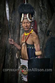MODEL REALEASED  India, Nagaland, Tuensang, Naga tribal warrior