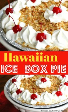 Hawaiian Ice Box Pie - This no-bake Hawaiian ice box pie is packed with the flavors you might associate with a summer vacation to a tropical island paradise. Icebox Desserts, Icebox Cake Recipes, No Bake Desserts, Just Desserts, Pie Recipes, Recipies, Picnic Recipes, Potluck Recipes, Baking Desserts