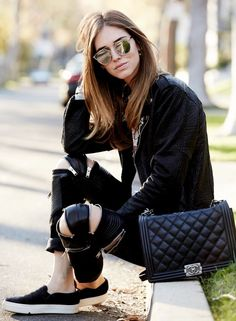 Black Leather Zip Detail Pants by The Blonde Salad