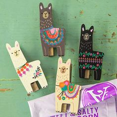 Llama Magnet Happy Clips - These colorful and hand-designed llama magnet clips will hold important pictures, papers, invitations and more on your fridge while creating happiness every time you see them! Perfect for your llama-lloving friends!!