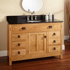 "48"" Mission Hardwood 6-Drawer Vanity With Undermount Sink - Single Door"