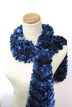 Blue Hand Knit Ruffled Scarf by ArlenesBoutique on Etsy, $35.00