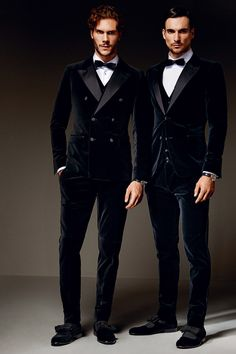 Classic Black Velvet Tuxedos, Slim Fit and Double Breasted, Dolce Gabbana. Men's Fall Winter Formal Fashion.