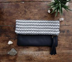 Southwest Clutch  Linen and leather by kertis on Etsy