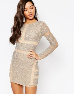 Missguided Premium Panelled Embellished Mini Dress
