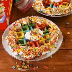 With these tie-dye Belgian waffles, the breakfast classic gets a much-needed makeover—and we're so here for it. From now on, adding Fruity PEBBLES cereal into the batter, around the sides, and on top of your waffle is a must. Full recipe at Delish.com. Hallowen Food, Halloween Party Snacks, Halloween Appetizers, Halloween Desserts, Fun Baking Recipes, Easy Dinner Recipes, Appetizer Recipes, Holiday Recipes, Authentic Mexican Recipes