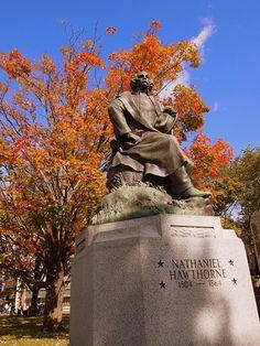 Nathaniel Hawthorne's statue in Salem, MA Nerd Stuff, Stuff To Do, Salem Mass, Nathaniel Hawthorne, Graveyards, Sleepy Hollow, Book Nerd, Bibliophile, Monuments
