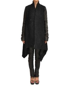 Rick Owens Mohair woolen coat with leather sleeves