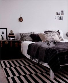 Bedroom decor in black and white (need some large framed art on the wall) from Ikea. Super super super cute but need some color like red