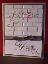 Card Using Darice Embossing Folder Brick Wall Pattern - love the flower stamp sentiment stamp on the brick wall as well Scrapbooking, Scrapbook Cards, Stamping Up Cards, Rubber Stamping, Embossed Cards, Marianne Design, Sympathy Cards, Sympathy Notes, Get Well Cards