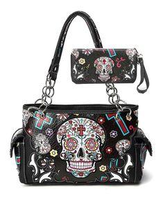 Western Concealed Carry Cross Sugar Skull Art Purse Handbag Shoulder Bag Wallet Set