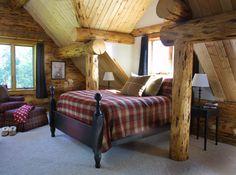 Rustic bedroom - Montana Log Homes:: The Handcrafted Alternative Log Cabin Living, Log Cabin Homes, Log Cabins, Cozy Bedroom, Cabin Bedrooms, Rustic Bedrooms, Bedroom Windows, Master Bedroom, Rustic Room