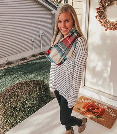 """67b3f2b63a1 Claire Andrade on Instagram  """"I 🧡plaid and stripes combined. Another  beautiful fall day. I made a pumpkin one pot pasta tonight for dinner and I  was a ..."""
