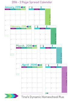 2016 2 Page Spread Physical Year Calendar Sample Pages @ Tina's Dynamic Homeschool Plus