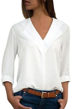 Rogi Summer Sexy V Neck Women Chiffon Blouse Fashion Solid Long Sleeve Casual Blouse Shirts Elegant Ladies Tops 2018 Blusas Blouse Verte, Chemises Sexy, Chiffon Shirt, Chiffon Fabric, Chiffon Tops, How To Roll Sleeves, Plus Size Blouses, Casual Tops, Blouse Designs
