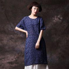 Women loose short sleeve cotton Round collar dress