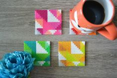 Items similar to Fuse Bead / Perler Bead Neon Geometric Coasters – Set 4 – Housewarming Gift on Etsy – Famous Last Words Quilting Beads Patterns Perler Bead Designs, Hama Beads Design, Pearler Bead Patterns, Perler Patterns, Hama Beads Coasters, Diy Perler Beads, Perler Bead Art, Hama Coaster, Pixel Art