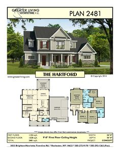 Plan 2481: THE HARTFORD - House Plans -  Two Story House Plans - 2 Story  - Greater Living Architecture - Residential Architecture