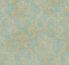 Tapete Aged Antiqued blau Gold Delia Damask mit von Handcrafted360