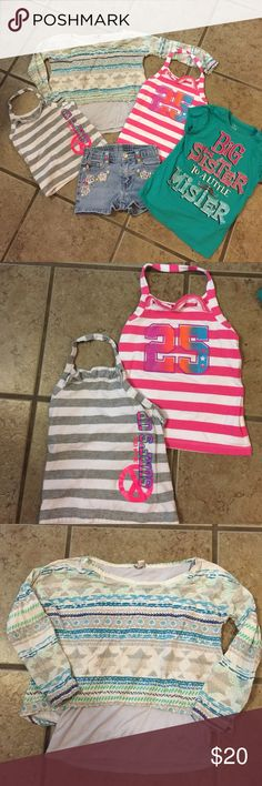 GIRLS SUMMER BUNDLE  size 5 77 Kids printed 2 layer top (3/4 length sleeves), Children's Place big sister t-shirt, Bongo floral embroidered faded shorts, 2 striped Children's Place halter tops.  Normal wear, smoke free home, great condition Other