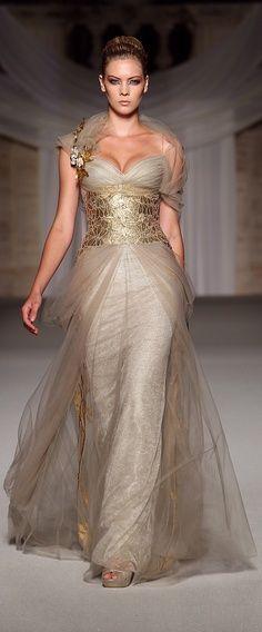 Abed Mahfouz designed latte chiffon dress with wide gold belt