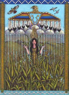 """""""The Corn Mother is found in the legends of many native american tribes and in myths from around the world. The thunderbird, stylized clouds and rain, and beadwork are based on Plains tribe imagery. Native American Mythology, Native American Beadwork, Native American Tribes, Native American History, Trail Of Tears, Southwestern Art, Painted Pony, Indigenous Art, Aboriginal Art"""