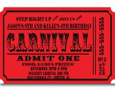 carnival party invitation templates free   Carnival Ticket Birthday Party Invi tations Announcement Digital File ...