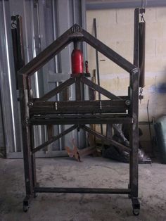 Sheetmetal Bender by duncan.briffa -- Made out of 50x50mm hollow section... A bottle jack and two...