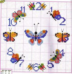 Farfalle Butterfly Cross Stitch, Cross Stitch Flowers, Modern Cross Stitch Patterns, Cross Stitch Designs, Cross Stitching, Cross Stitch Embroidery, Embroidery Alphabet, Cross Stitch Boards, Knitting Charts