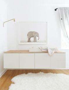 Finally, a baby elephant + a new nursery! — The Animal Print Shop Children's room – Baby Elephant – Home of Max and Margaux Wanger, LA – The Animal Print Sho White Changing Table, Changing Table Dresser, Changing Tables, Baby Bedroom, Kids Bedroom, Room Baby, Kids Rooms, Baby Decor, Kids Decor