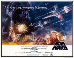 One of the earliest Star Wars posters (notice the lettering of the title), designed by illustrators Greg and Tim Hildebrandt (who are famously known for their work on J.R.R. Tolkien imagery) and graphic designer Tom Jung.
