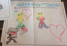 Thanks to all of the small fries who came in and created custom Father's Day cards for their dads! Fathers Day Ecards, Fries, Dads, Thankful, Happy, Fun, Fathers, Ser Feliz, Hilarious