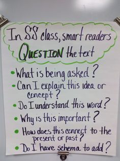 """Questioning"" Anchor Chart (Social Studies)"