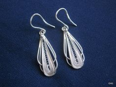 Handmade Sterling Silver Filigree Drop Earrings by TrulyFiligree, $35.65