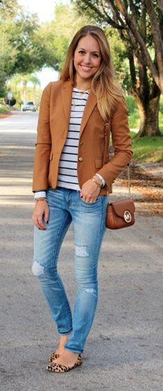 Camel blazer, striped top, leopard flats - cute casual outfit (though I cannot imagine ripped jeans on me!)
