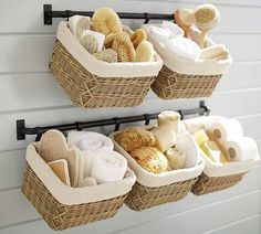 15 Superb DIY Bathroom Organization Hacks You Need Need to organize your bathroom? These bathroom organization hacks will help you keep the bathroom clean and organized with easy to find products. Wall Basket Storage, Towel Storage, Baskets On Wall, Diy Storage, Hanging Baskets, Decorative Storage, Bedroom Storage, Storage Shelves, Wall Shelves