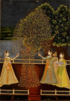 Rajasthani ladies lighting fireworks during Diwali~ opaque watercolour and gold on paper, Rajasthan, circa Mughal Paintings, Indian Paintings, Oil Paintings, Indian Traditional Paintings, Traditional Art, Indiana, Art Indien, Rajasthani Art, Krishna Art