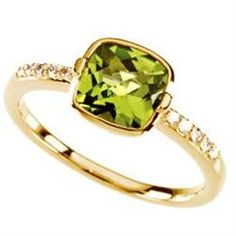 Ladies square checkerboard cut solitaire peridot and diamond ring in 14K yellow gold. 7 X 7mm quality peridots are used for this style. August's Birthstone, free shipping and sizing. Raymond Jewelers