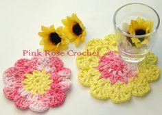PINK ROSE CROCHET: Flor Centrinhos para Copo Crochet Coasters