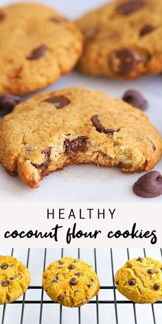 Recipes Videos Soft and delicious, these coconut flour cookies are so easy to whip up (only 8 ingredients)! Plus they're grain-free, low carb, low sugar and less than 95 calories each! Healthy Low Carb Recipes, Healthy Dessert Recipes, Gluten Free Desserts, Vegan Desserts, Coconut Flour Recipes Low Carb, Coconut Flour Cookies, No Flour Cookies, Cookies Et Biscuits, Coconut Flour Baking