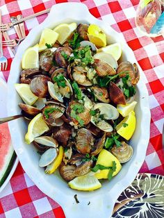 Portuguese Garlic Clams - nothing but clams, butter, vihno verde and garlic with a hit of cilantro and lemon