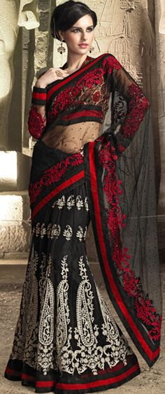 Black & Brick Red Embroidered Saree
